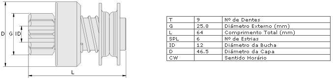 Impulsor partida zen ford, vw ford corcel ii, pampa, escort com motor cht vw gol, saveiro, santana com motor 1.8 partida wapsa