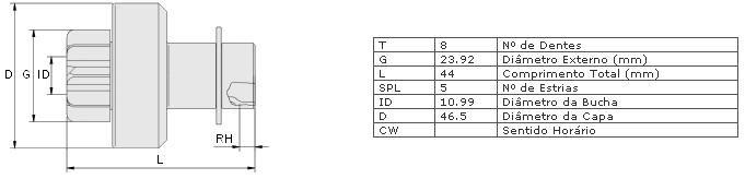Impulsor partida zen gm, renault celta 1.0, corsa clio , kangoo, megane, scenic, r19 c/ motor 1.6 laguna 18., 2.0 partida valeo