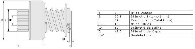 Impulsor partida zen vw, ford, gm, gurgel escort, pampa, corcel ii, del rey, com motor cht verona 2.0, versailles 1.8, 2.0 chevette, chevy 500, chevette junior, marajo, kadett 1.8 , monza gurgel caraj