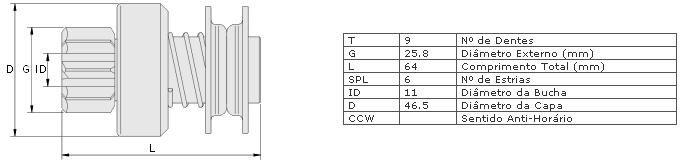 Impulsor partida zen vw fusca 1300, 1500, 1600, brasilia, gol ar, kombi ar, saveiro ar puma gt c/ motor vw 81 >81 partida wapsa