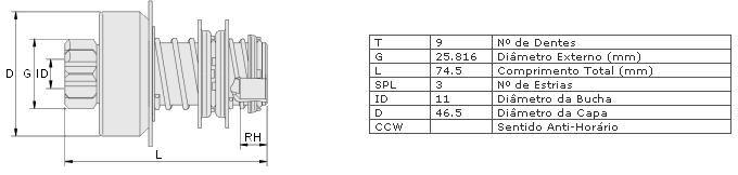 Impulsor partida zen vw sedan 1300, 1500, kombi ar, variant 68 >72 partida bosch