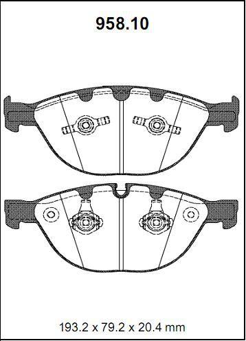 Pastilha freio dianteira asumi bmw 535 / 540 / 545 / 550 / m5 / 730 / 740 / 745 / 750 / 760 03/... e60 / e61 / e65