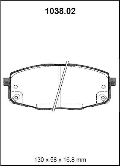 Pastilha freio dianteira asumi hyundai, kia i30 gls 2.0 08 > kia carens ex 2.0 02 > 05