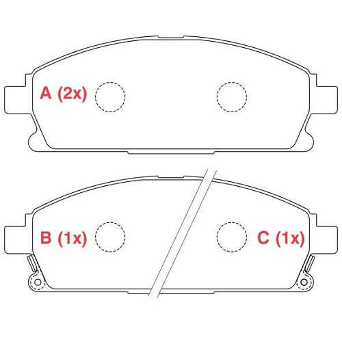 Pastilha freio dianteira asumi nissan pathfinder 3.0 v6 / 3.5 v6 / 3.3 96 > 04 quest 04 > xtrail 2.5 16v 01 > 07
