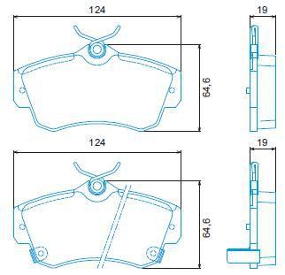 Pastilha freio dianteira jurid chrysler pt cruiser 2.0 16v 01 > 05 pt cruiser 2.4 16v 05 > 10