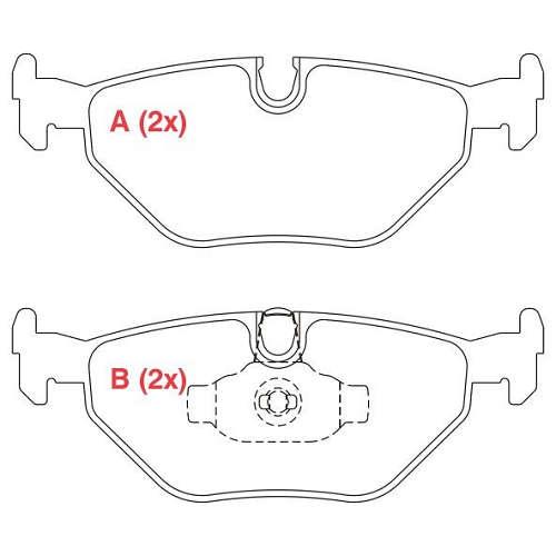 Pastilha freio traseira asumi bmw 318 / 320 / 323 / 325 / 328 91 > 98 bmw z3 1.9 / 2.8 / 3.0 92 > 02