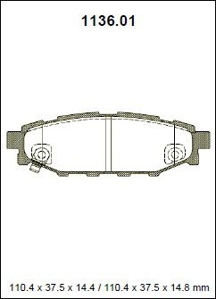Pastilha freio traseira asumi subaru forester 2.0 / 2.0 turbo / 2.5 04 > impreza 2.0 wrx / 2.0 wrx turbo / sti 2.5 / xv 2.0 08 > legacy 2.0 cvt / 2.5 gt 08 > outback h6 3.6r 08 >