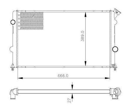 Radiador agua visconde gm s102.2, 2.2, 2.4 flex 95 > 11,  blazer 2.2, 2.2, 2.4 flex 95 > 11