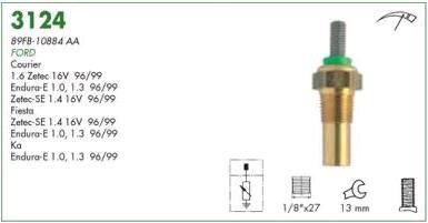 Sensor temperatura mte ford courier 1.3, 1.4 16v 97 > 99 fiesta 1.0, 1.4 16v 96 > 99 ka 1.0 97 > 99 motor endura