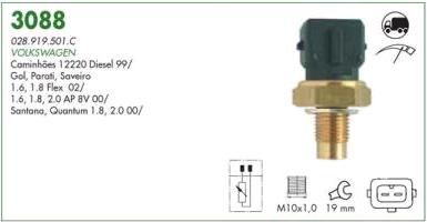 Sensor temperatura mte vw gol, parati, saveiro, 1.6, 1.8, 2.0 ap efi 00 > 02 santana , quantum 1.8, 2.0 00> vw caminhoes 12220 99 >