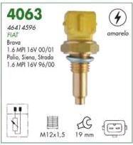 Sensor temperatura (plug eletronico) mte fiat palio 1.6 16v mpi 96 > 00 brava 1.6 16v sx, elx 00 >