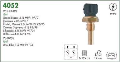 Sensor temperatura (plug eletronico) mte gm, fiat gm omega, silverado 4.1, monza mpfi fiat uno 1.6
