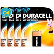 Bateria Alcalina Duracell 9V Original Kit ( 4 Unidades )