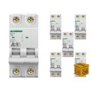 Disjuntor Bipolar 50A 3KA Curva C Alumbra - Kit com 06