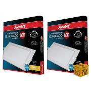 Kit 02 Painel Plafon Led 24W Embutir  Quadrado Luz Amarela Avant