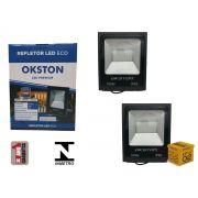 Kit 02 Refletor Led 100W Holofote Luz Branca a Prova D'água Okston