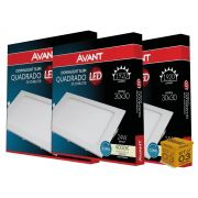 Kit 03 Paineis Plafon Led 24W Embutir Quadrado Luz Neutra Avant