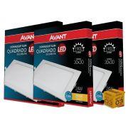 Kit 03 Painel Plafon Led 24W Embutir  Quadrado Luz Amarela Avant