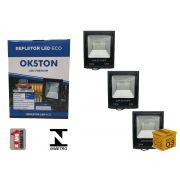 Kit 03 Refletor Led 100W Holofote Luz Branca a Prova D'água Okston