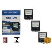 Kit 03 Refletor Led 200W Holofote Luz Branca a Prova D'água Okston