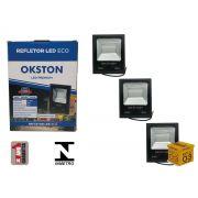Kit 03 Refletor Led 50W Holofote Luz Branca a Prova D'água Okston