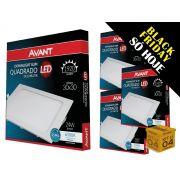 Kit 04 Paineis Plafon Led 24W Embutir Quadrado Branco Avant