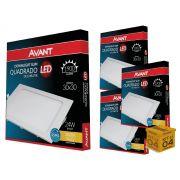 Kit 04 Painel Plafon Led 24W Embutir  Quadrado Luz Amarela Avant