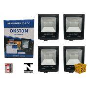 Kit 04 Refletor Led 100W Holofote Luz Branca a Prova D'água Okston