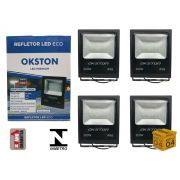 Kit 04 Refletor Led 200W Holofote Luz Branca a Prova D'água Okston