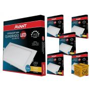 Kit 06 Painel Plafon Led 24W Embutir  Quadrado Luz Amarela Avant