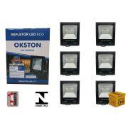 Kit 06 Refletor Led 100W Holofote Luz Branca a Prova D'água Okston