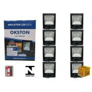 Kit 08 Refletor Led 100W Holofote Luz Branca a Prova D'água Okston