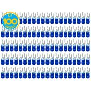 Kit 100 Terminais Garfo Pré Isolado Azul 1,5mm a 2,5mm Decorlux
