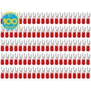 Kit 100 Terminais Garfo Pré Isolado Vermelho 0,5mm a 1,5mm Decorlux
