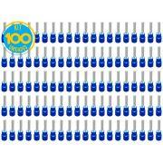 Kit 100 Terminais Pino Pré Isolado Azul 1,5mm a 2,5mm Decorlux