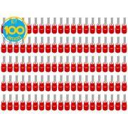 Kit 100 Terminas Pino Pré Isolado Vermelho 0,5 a 1,5mm Decorlux