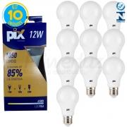 Kit 10 Lâmpadas Led Bulbo Luz Fria 12w E27 Pix