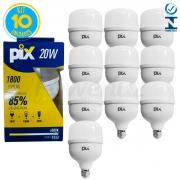 Kit 10 Lâmpadas Led Bulbo Luz Fria 20w E27 Pix