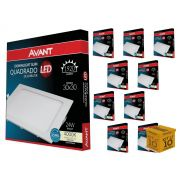 Kit 10 Paineis Plafon Led 24W Embutir Quadrado Luz Neutra Avant
