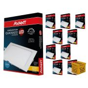 Kit 10 Painel Plafon Led 18W Emb. Quadrado Luz Amarela Avant