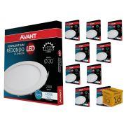 Kit 10 Painel Plafon Led 24W Embutir Redondo Luz Branca Avant