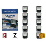 Kit 10 Refletor Led 200W Holofote Luz Branca a Prova D'água Okston