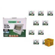 Kit 10 Refletor Led 50W Carcaça Branca Slim Taschibra