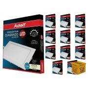 Kit 12 Paineis Plafon Led 24W Embutir Quadrado Luz Neutra Avant