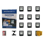 Kit 12 Refletor Led 100W Holofote Luz Branca a Prova D'água Okston