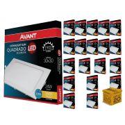 Kit 20 Painel Plafon Led 24W Embutir  Quadrado Luz Amarela Avant