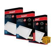 Kit 3 Painel Plafon Led 18W Embutir Quadrado Luz Neutra Avant