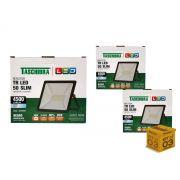 Kit 3 Refletores Led 50W Luz Branca Holofote Slim Taschibra