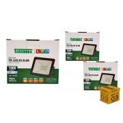 Kit 3 Refletores Led 20W Luz Branca Holofote Slim Taschibra