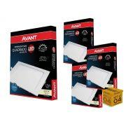Kit 4 Painel Plafon Led 18W Embutir Quadrado Luz Neutra Avant